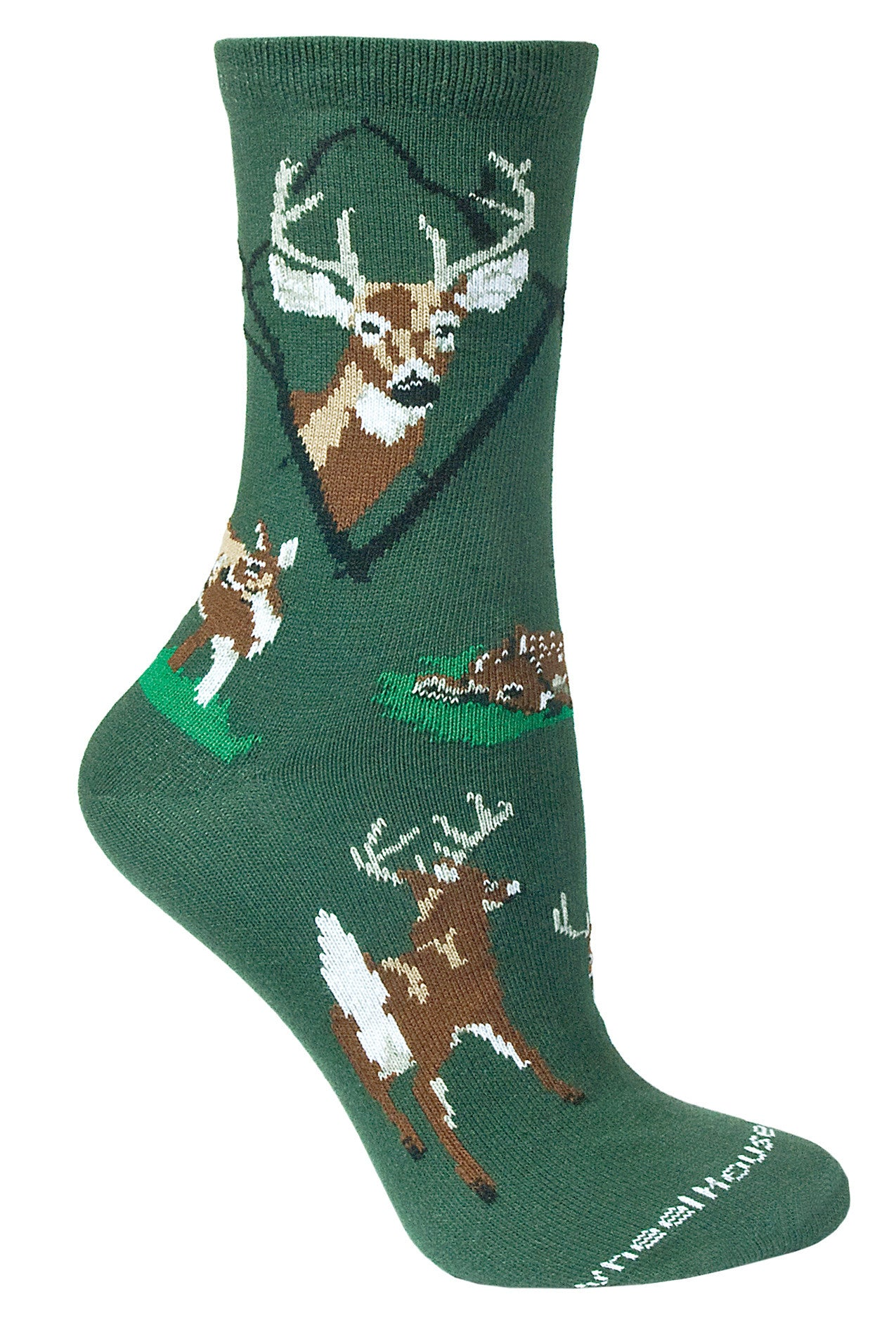 Deer, Whitetail on Hunter Green Crew Socks