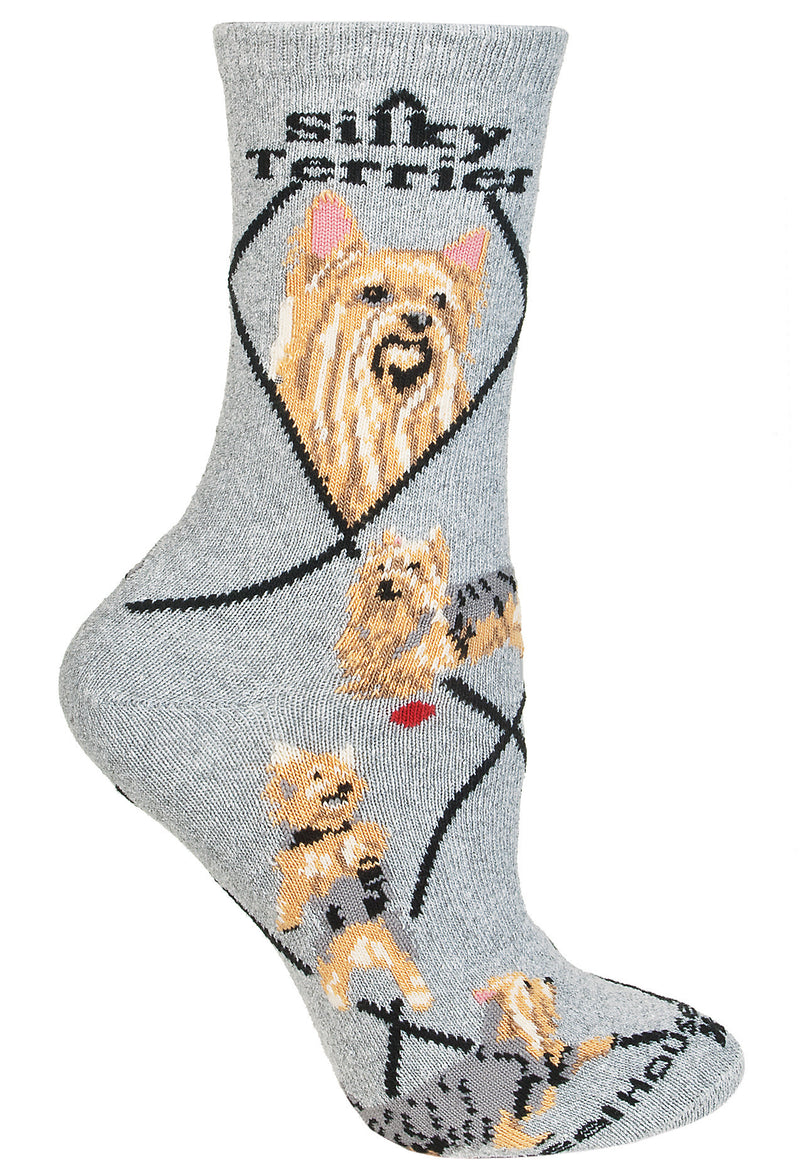 Silky Terrier Crew Socks on Gray