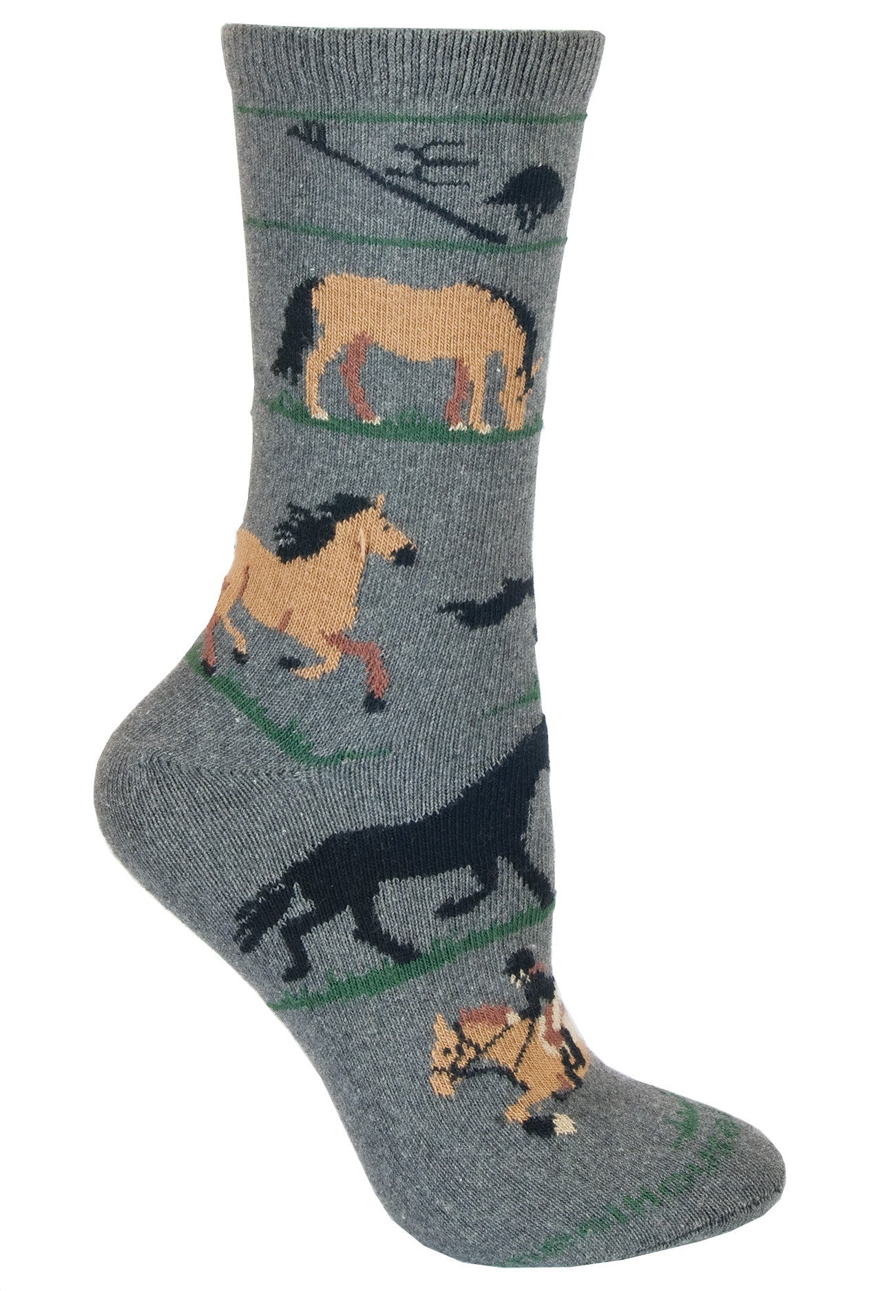 Equestrian Crew Socks on Dark Gray