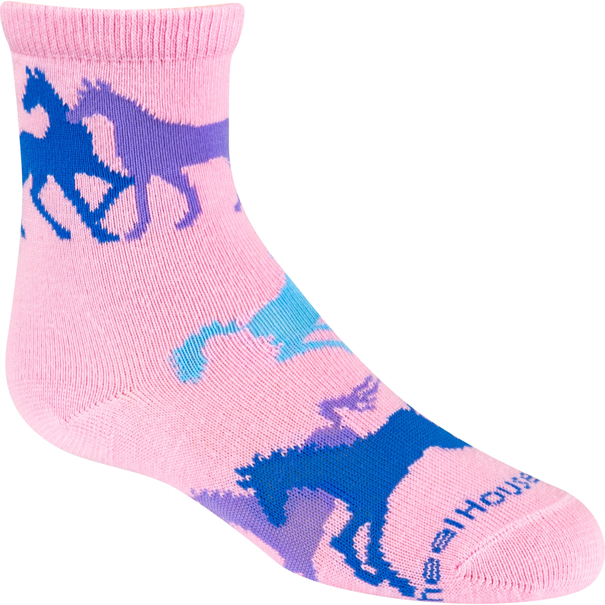 Colorful Horse on Pink Crew Socks