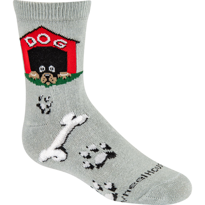 Dog House Kids Crew Socks on Gray