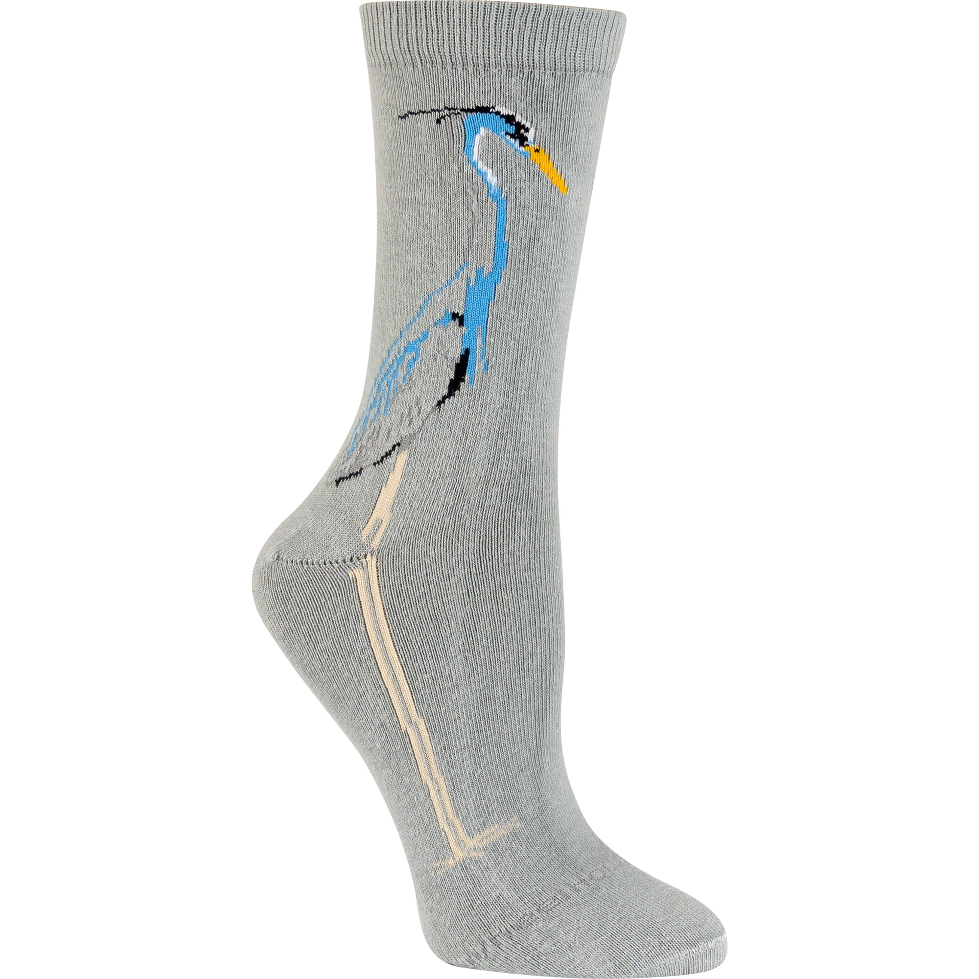 Blue Heron Crew Socks on Gray