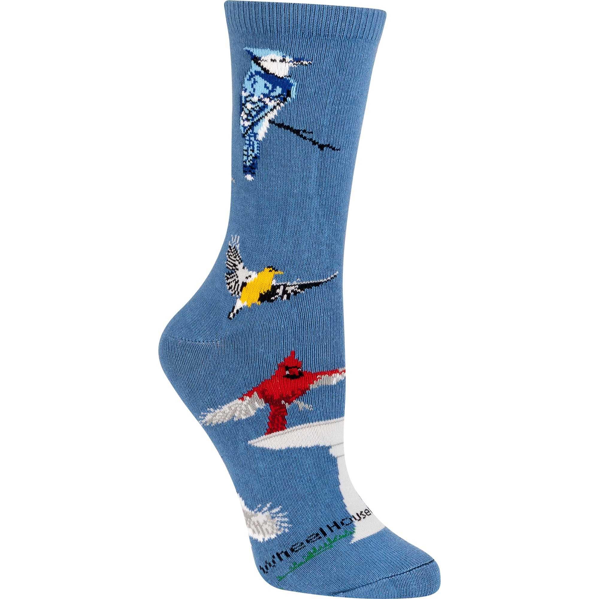 Backyard Birds Crew Socks on Blue