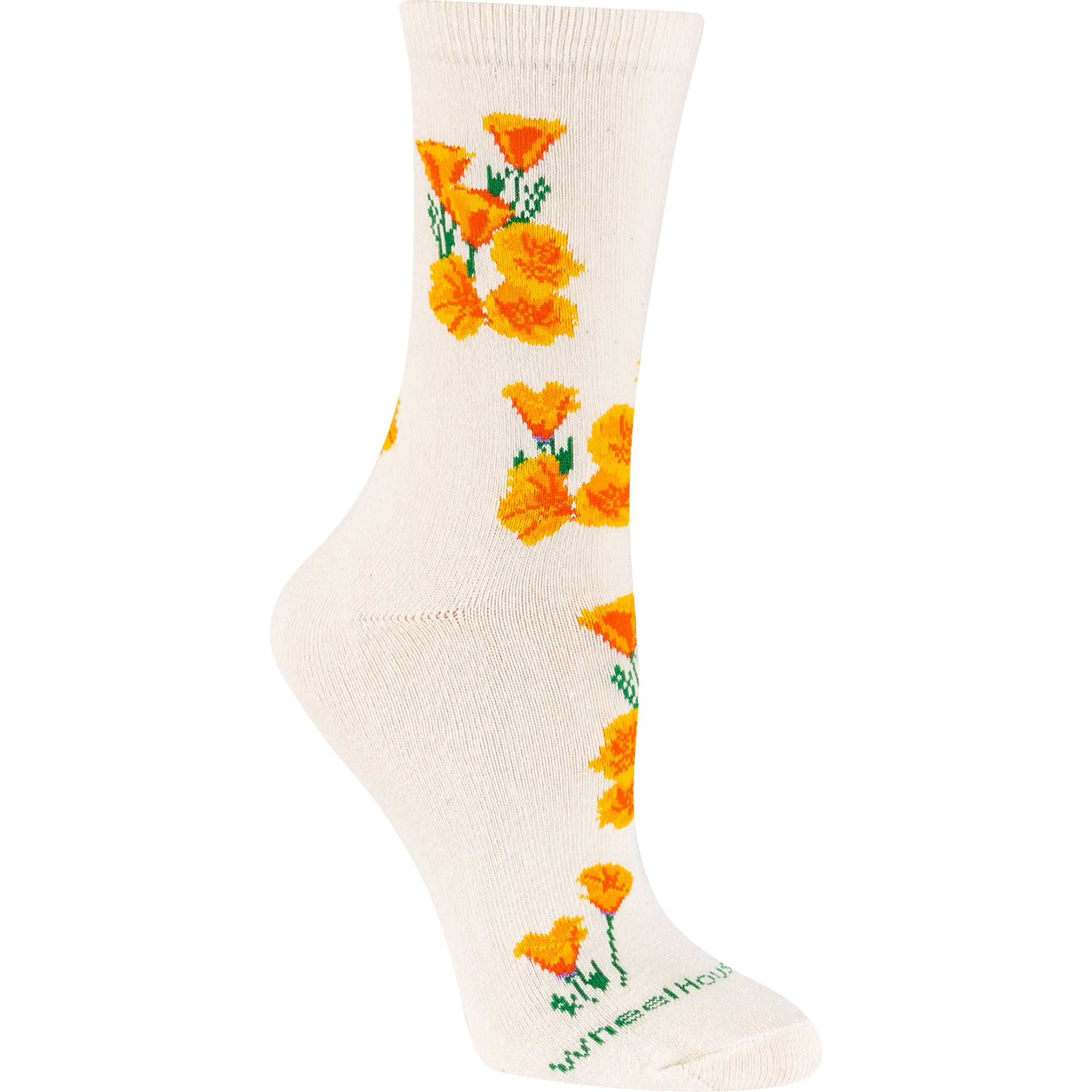 California Poppies Crew Socks on Natural