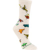 Butterflies Crew Socks on Natural