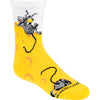 Mouse eating cheese on yellow crew socks