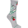 Holiday Chickadees in a Snowy Tree Crew Socks on Gray