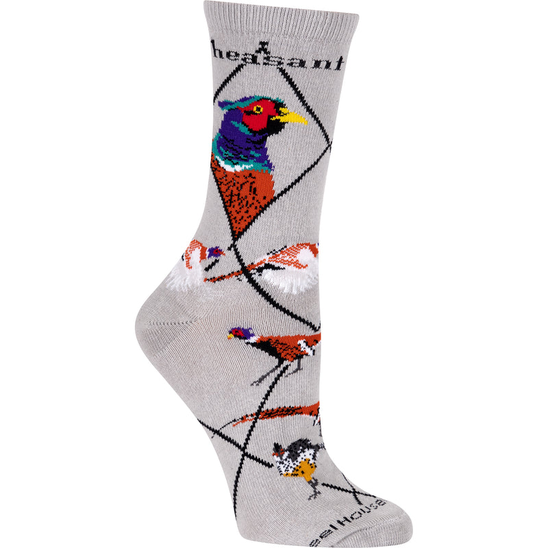 Pheasant Crew Socks on Gray
