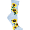 Sunflower Crew Socks on Light Blue