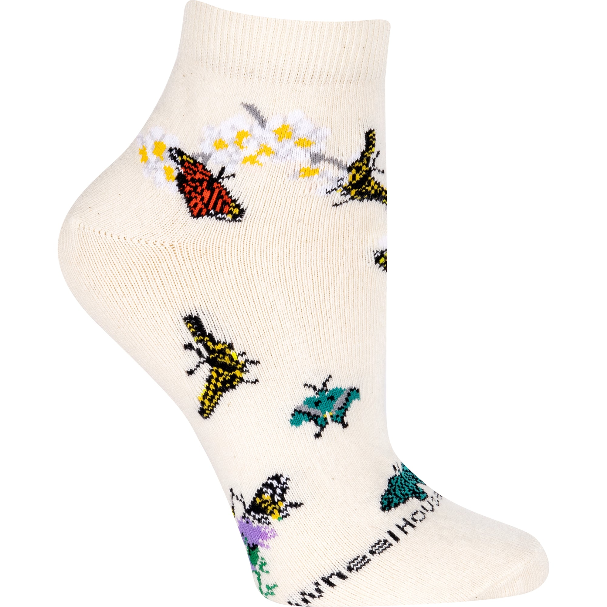 Colorful Butterflies on Anklet Length Sock on Natural