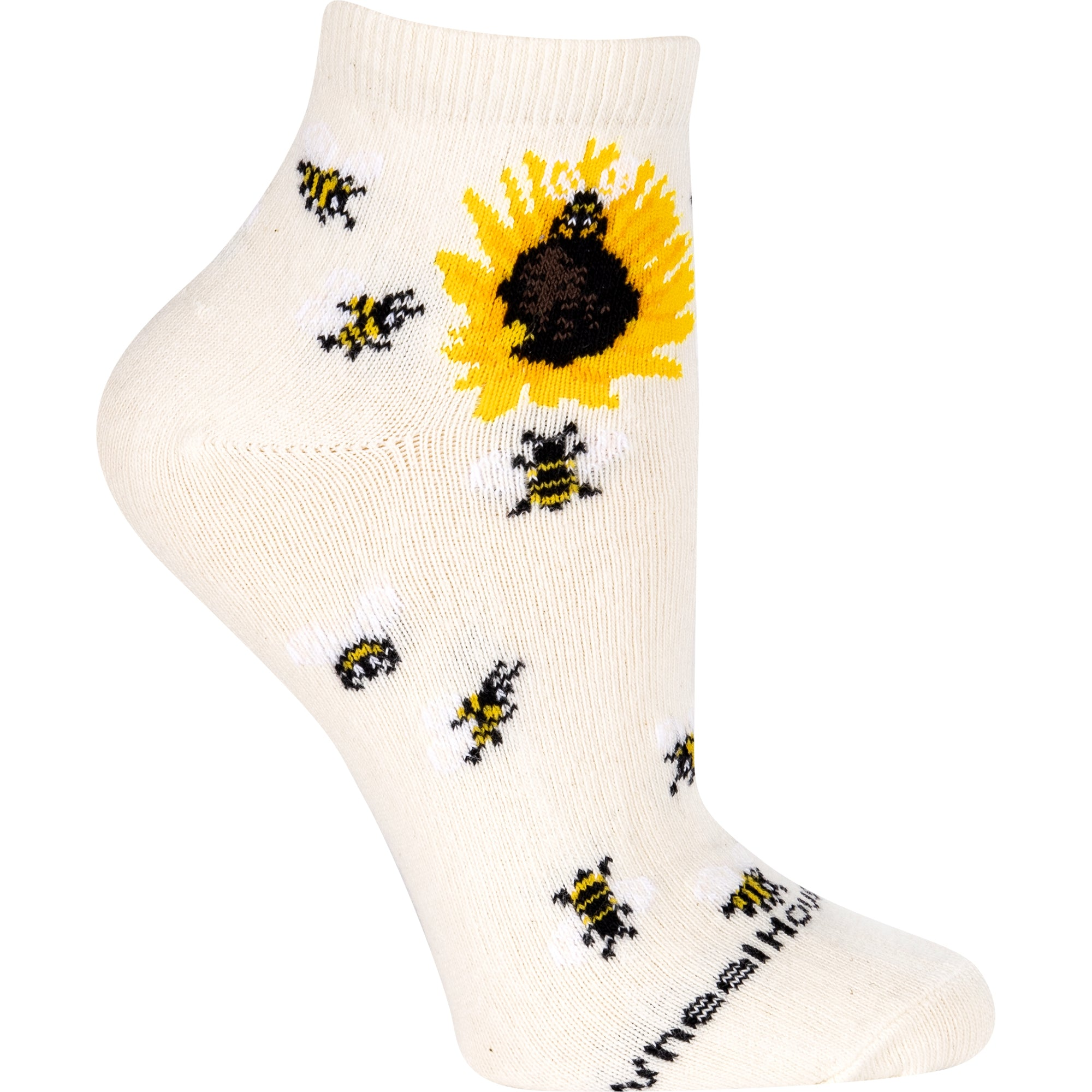 Bumblebees with Sunflower Anklet Length Sock on Natural
