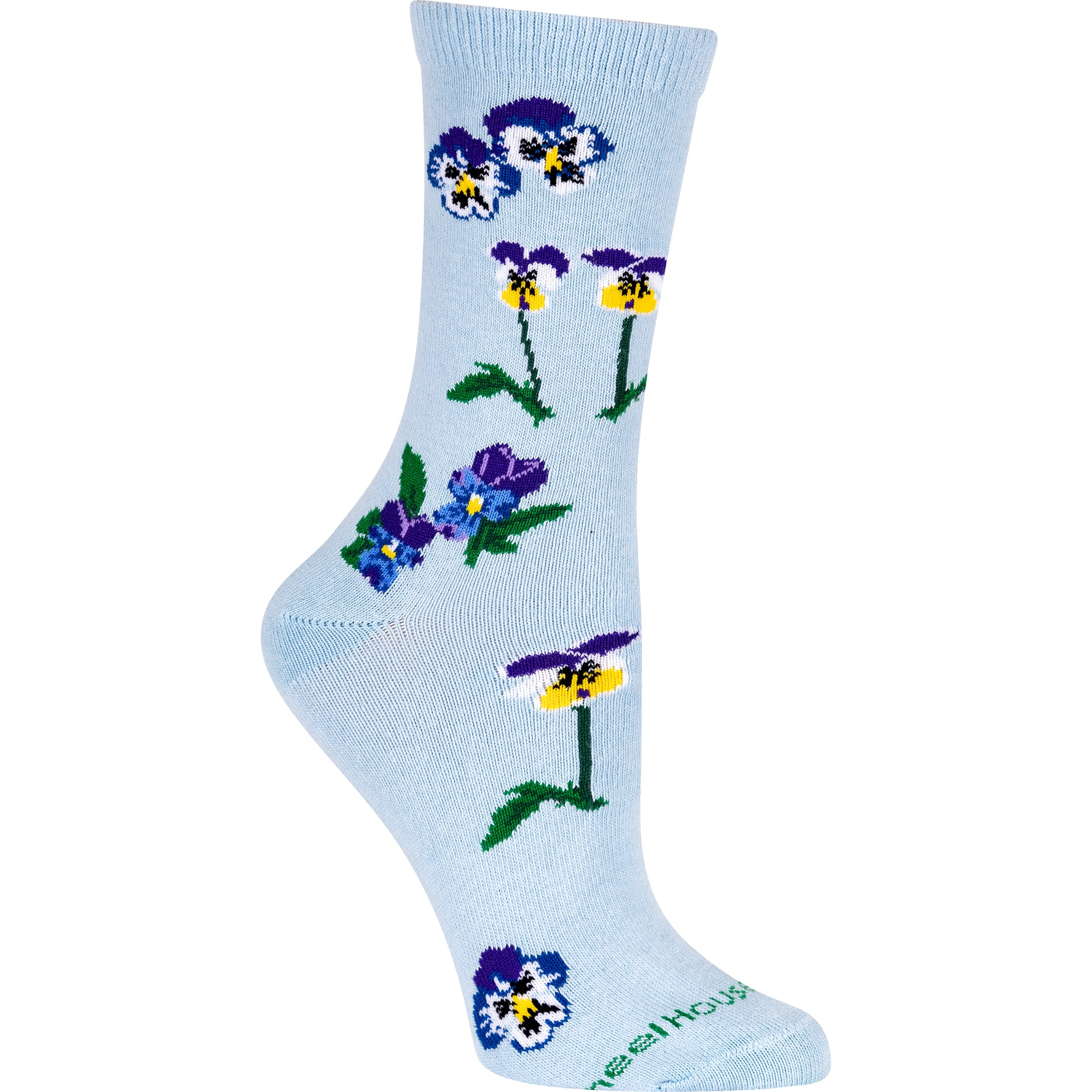 Pansies Crew Socks on Light Blue