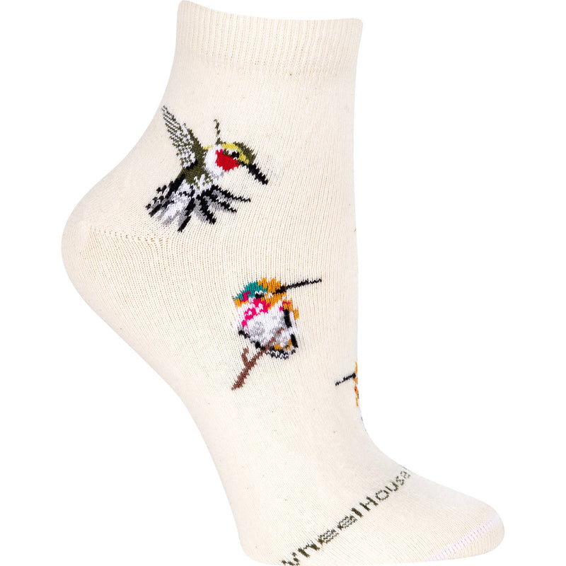 Hummingbirds Anklet Length Sock on Natural