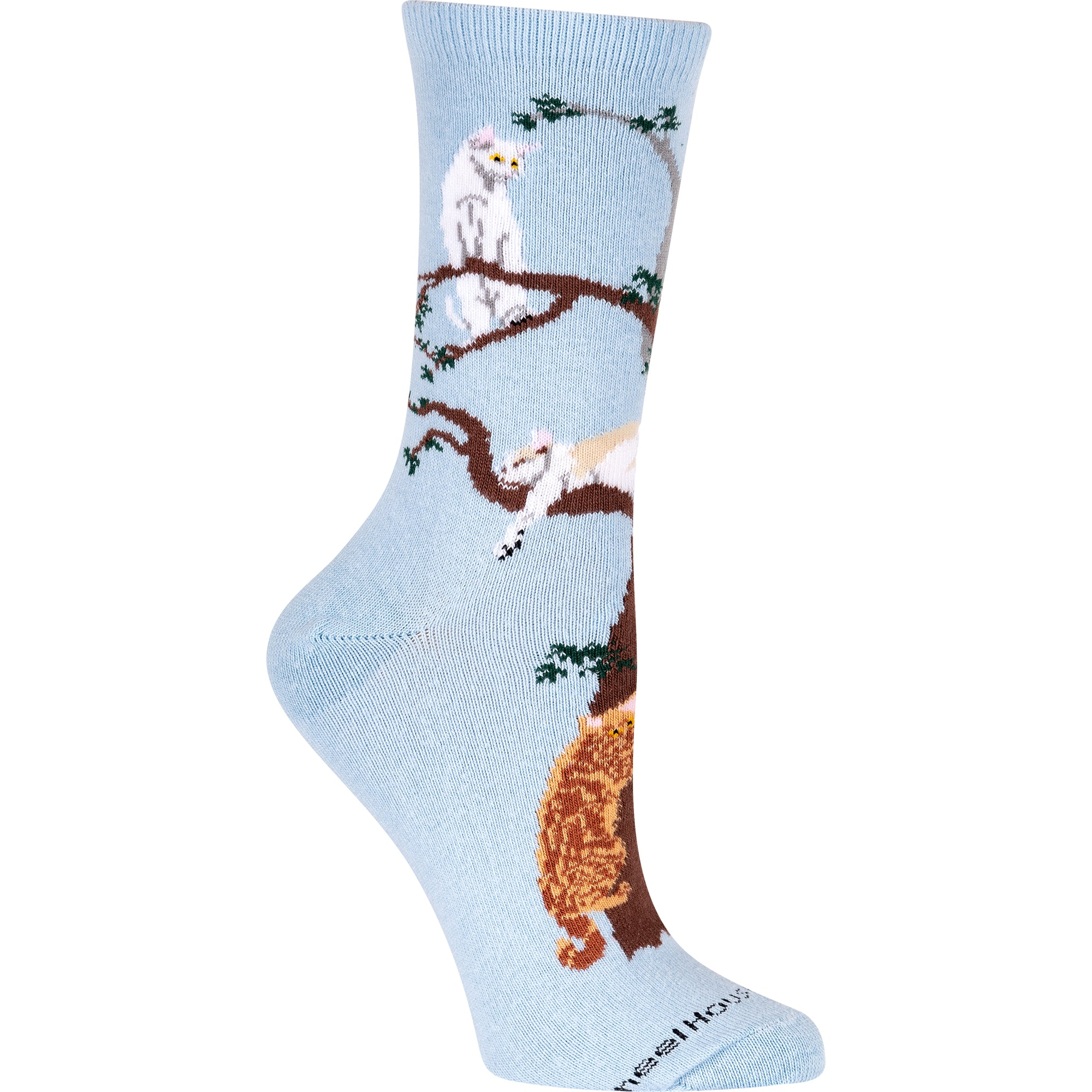 Cats in a Tree on Light Blue Crew Length Socks