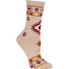 Native American Blanket Crew Socks on Khaki