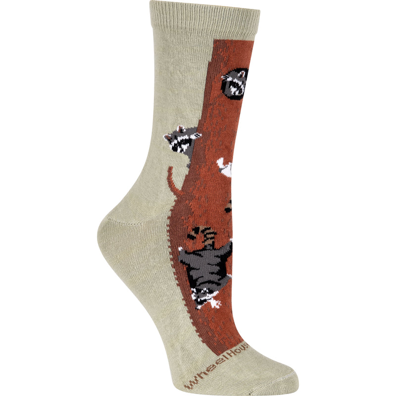 Racoons in a Tree Crew Socks on Khaki