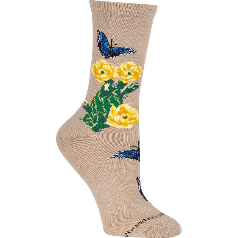 Cactus Flower Crew Socks on Khaki