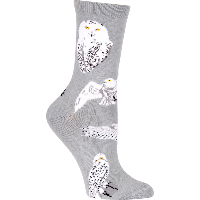 Owl, Snowy on Gray Crew Socks