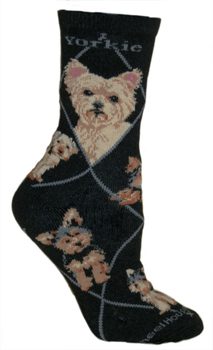 Yorkshire Terrier Puppy Cut On Black Crew Socks