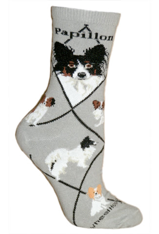 Papillon Crew Socks on Gray