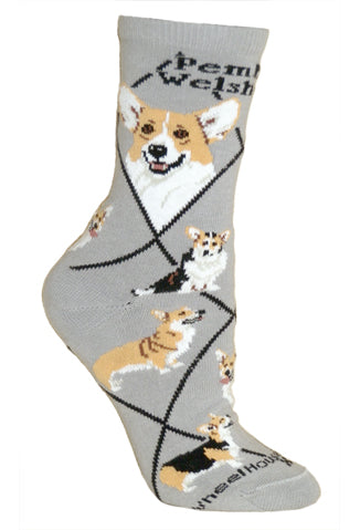 Corgi, Pembroke Welsh Crew Socks on Gray