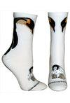 Emperor Penguin & Chick on White Crew Socks