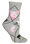 Pigs Crew Socks on Gray