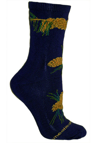 Pinecone Crew Socks on Navy
