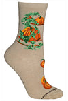 Pumpkin Crew Socks on Khaki
