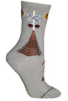 Railroad Crossing Cotton Crew Socks on Gray