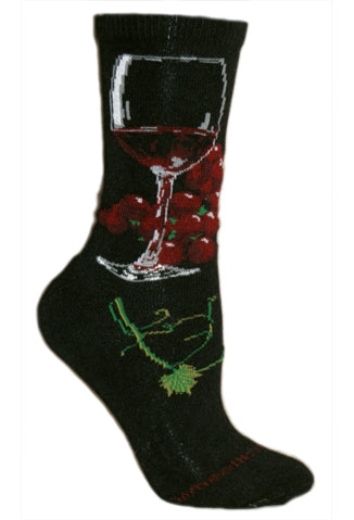 Red Wine Glass Crew Socks on Black