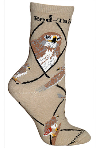 Red-Tailed Hawk Crew Socks on Khaki