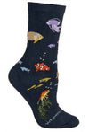 Sea Life Crew Socks on Navy