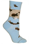 Sea Otters on Light Blue Crew Length Socks