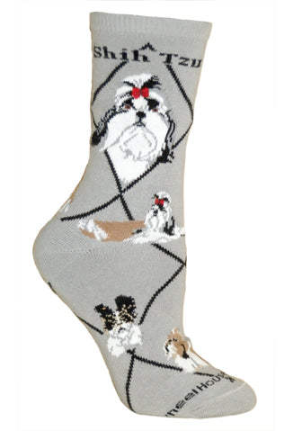 Shih Tzu Crew Socks on Gray