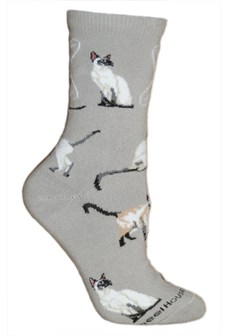 Siamese Cat Crew Socks on Gray