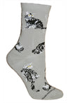 Silver Tabby Cat on Gray Crew Socks