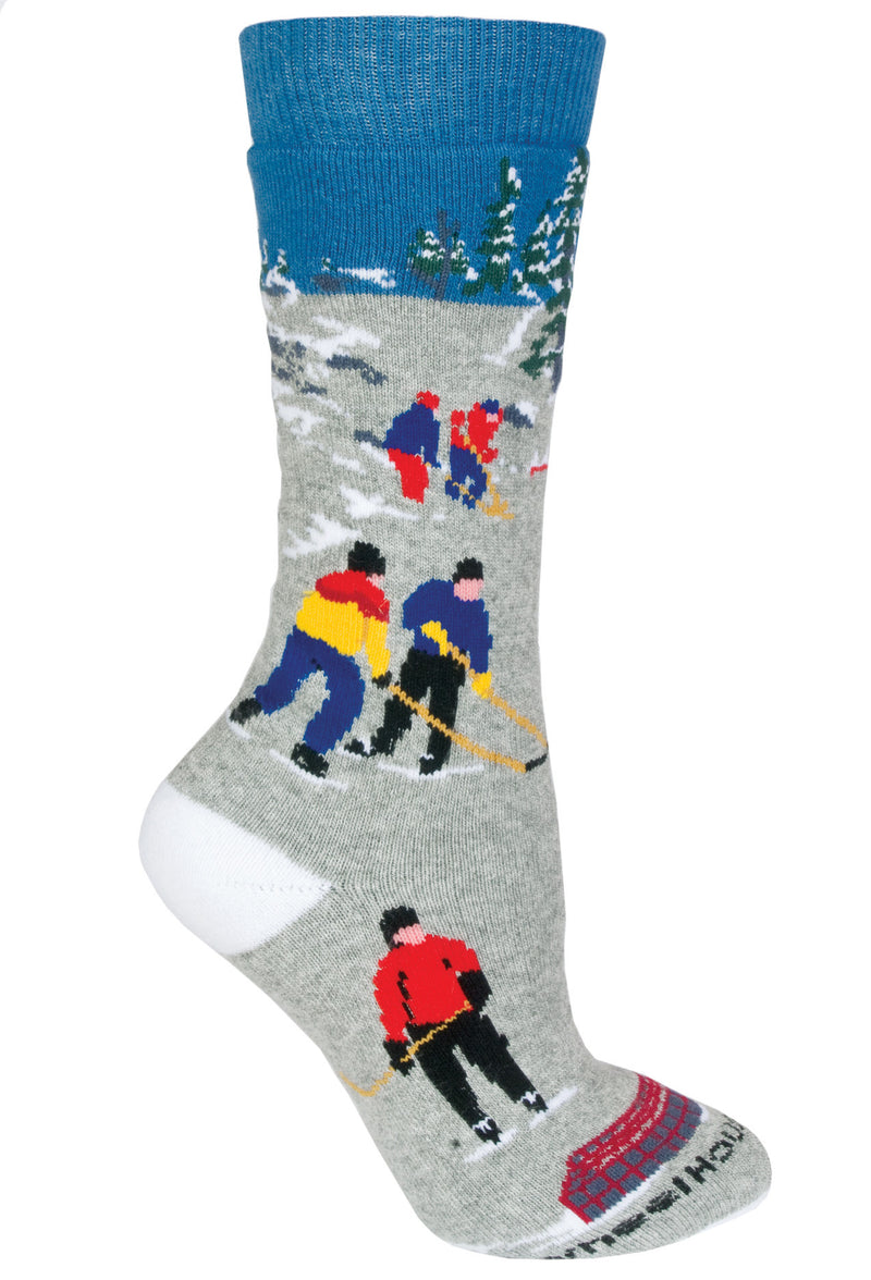 Hockey on Blue Socks