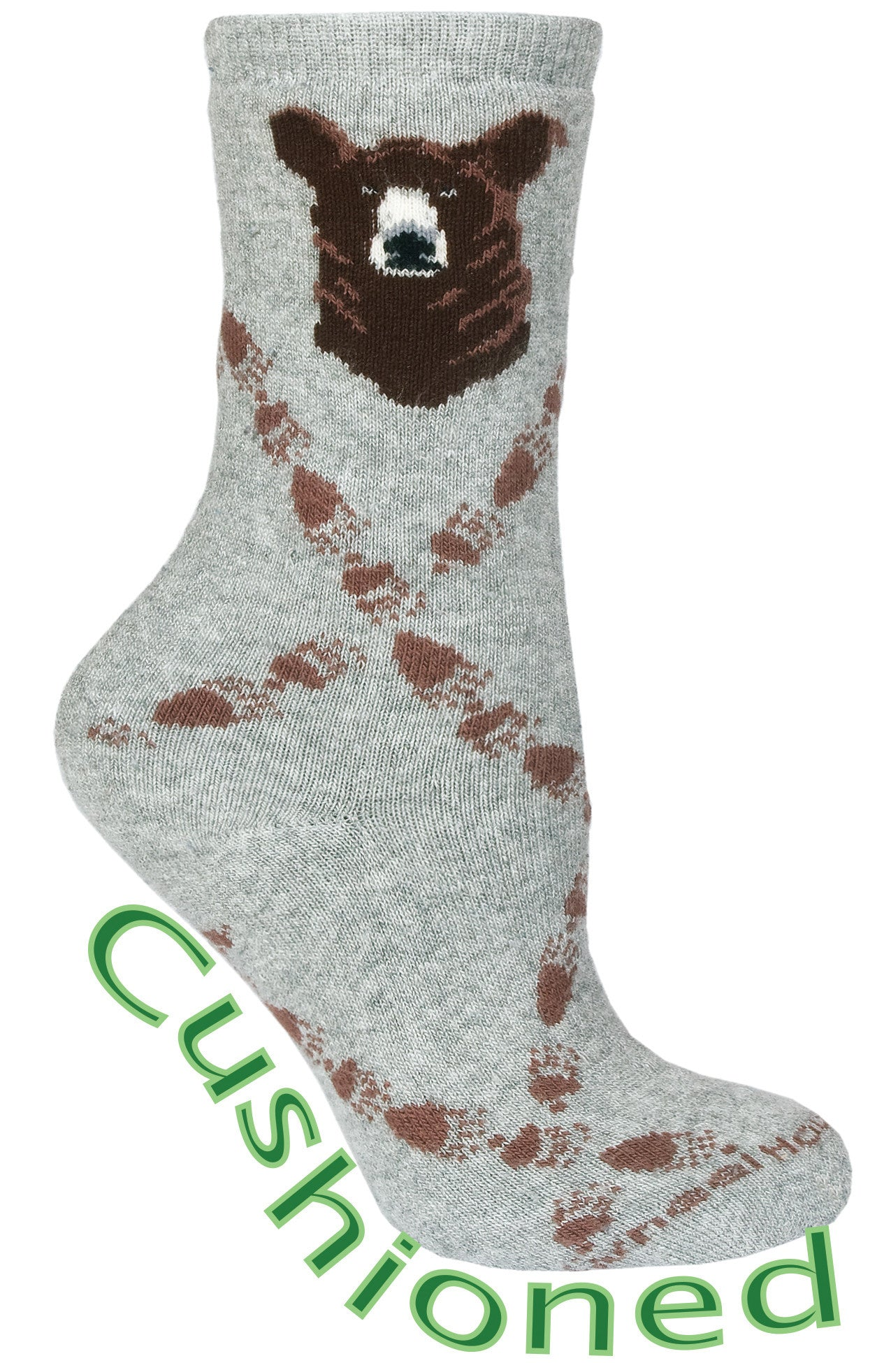 Bear Tracks Cushioned Crew Socks on Gray