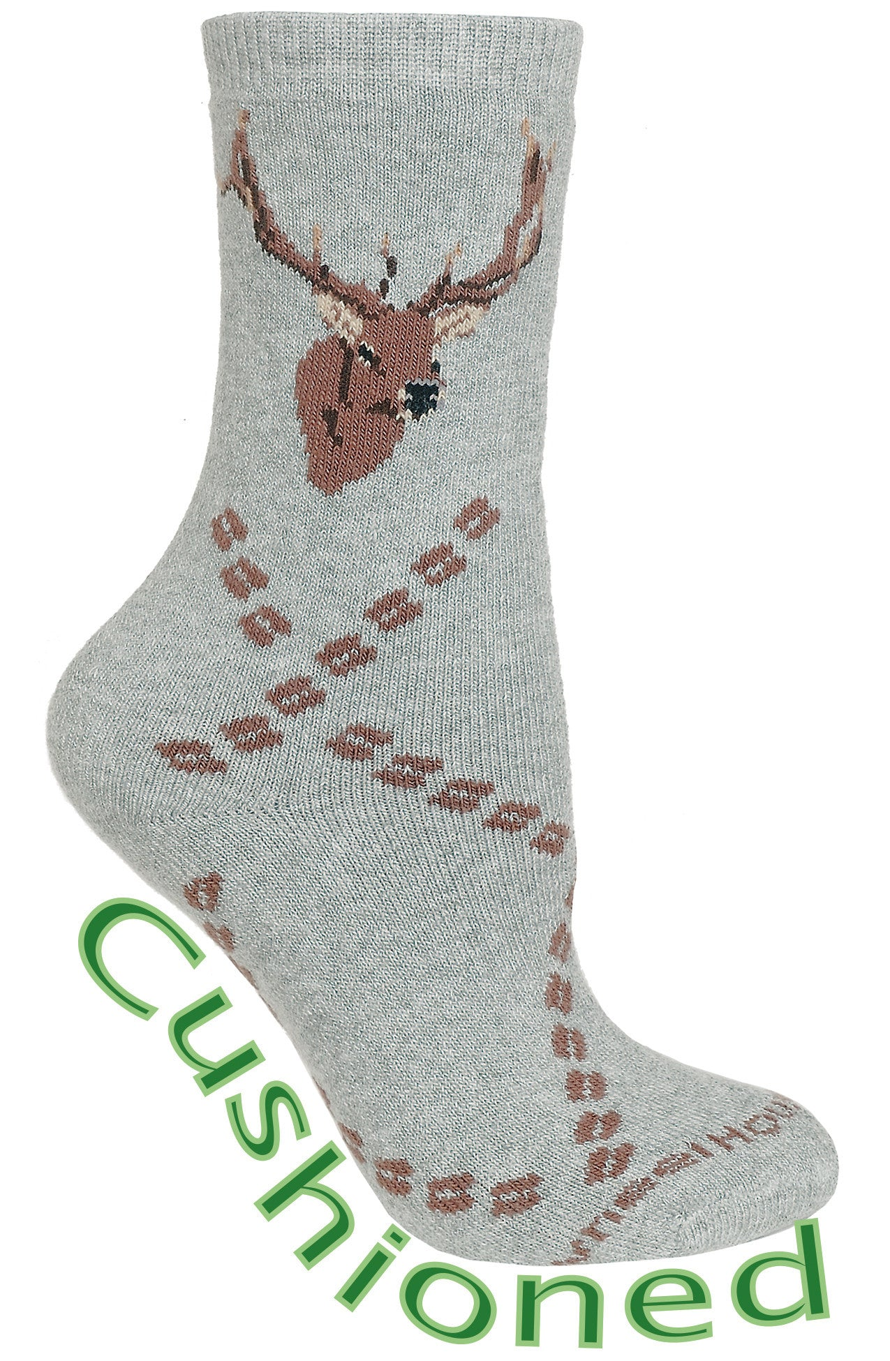Elk Tracks Cushioned Crew Socks on Gray
