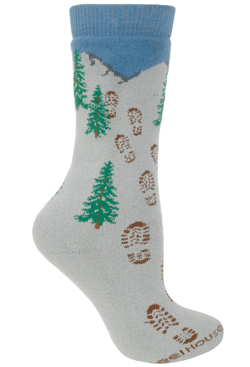 Hiking to the Mountains Cushioned Crew Socks on Gray