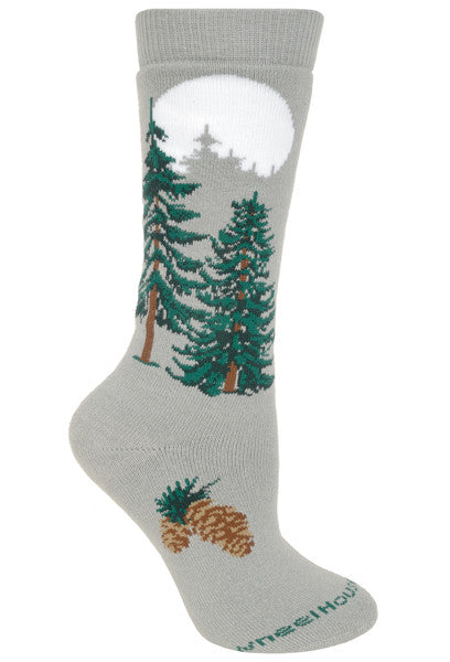 Moonlit Fir Tree Cushioned Crew Socks on Gray