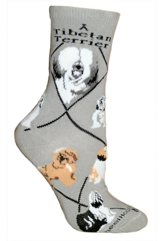 Tibetan Terrier Crew Socks on Gray
