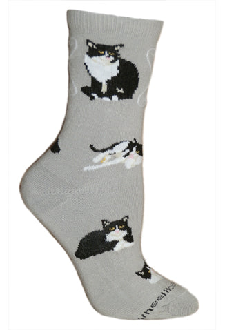 Tuxedo Cat Crew Socks on Gray