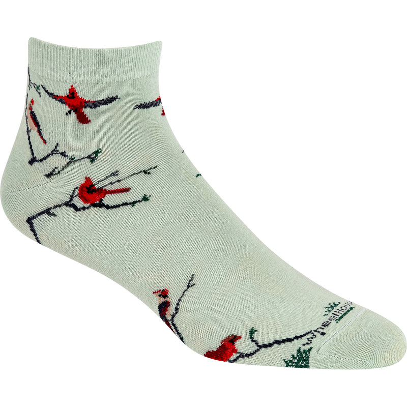 Red Cardinals on Mint Green Ankle Socks