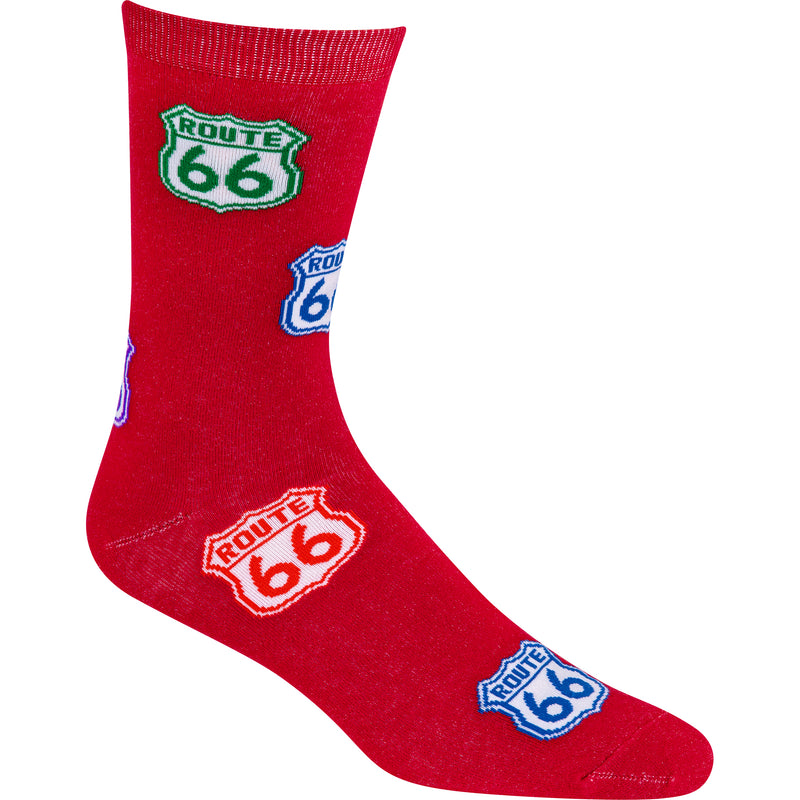 Colorful Route 66 Sign Lightweight Crew Socks on Red