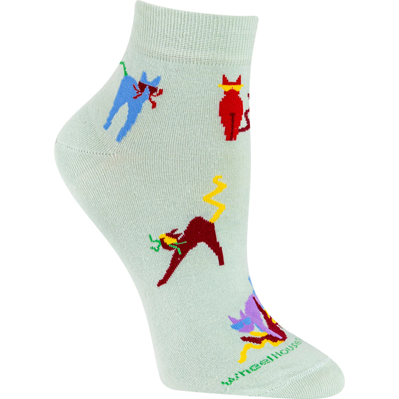 Crazy Cat Lightweight Ankle Length Socks on Mint Green