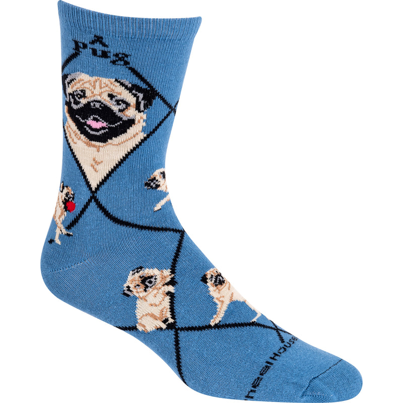 Smiling Pug In Fawn Crew Socks On Blue