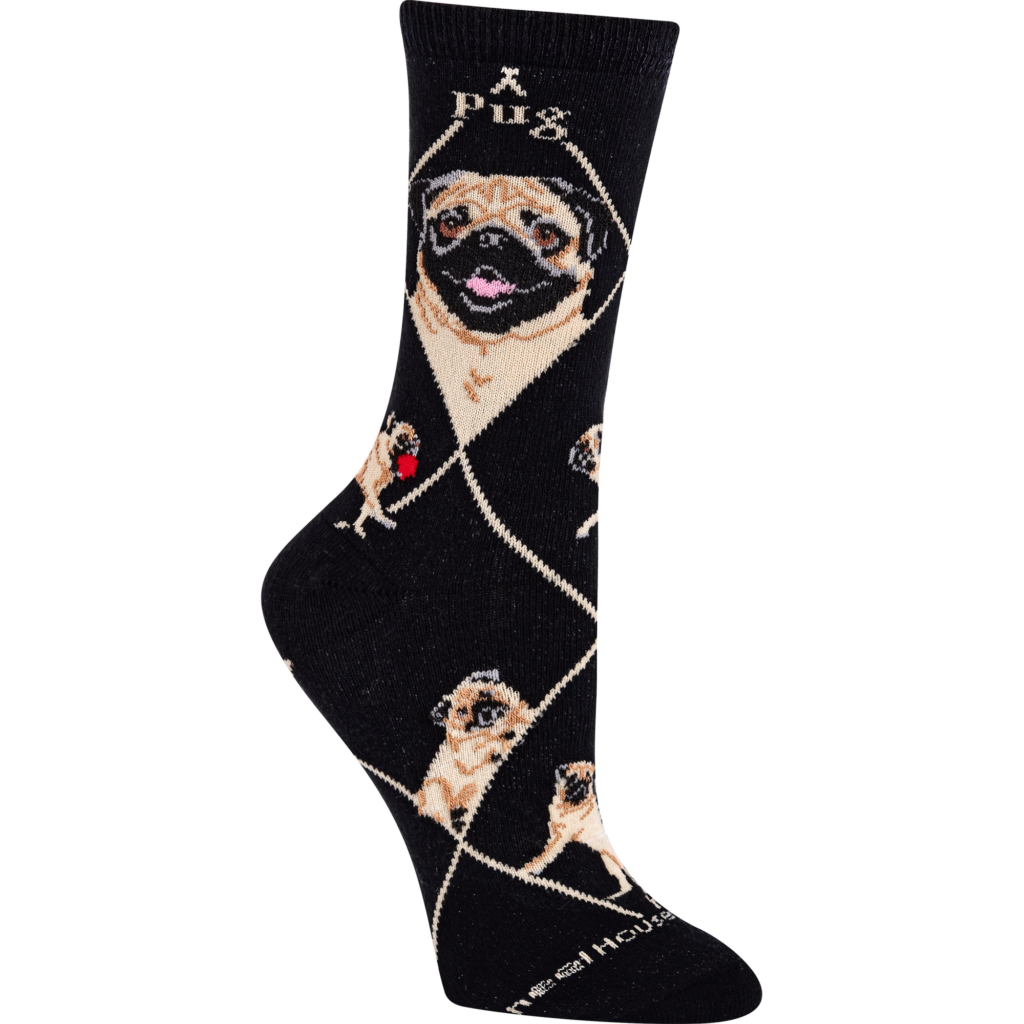 Smiling Pug In Fawn Crew Socks On Black