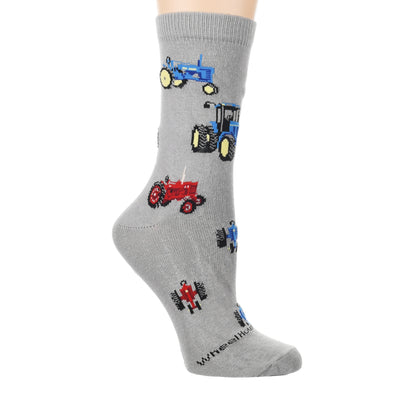 Red and Blue Tractors Crew Sock on Gray